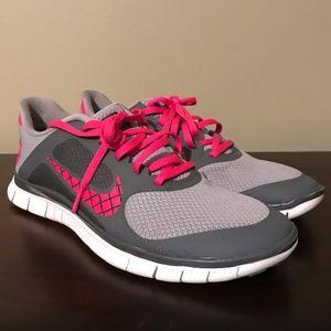 Women's 9.5 Nike Free 4.0 V3 Wolf Grey White Pink